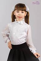 Блузка с шифоновым рукавом и розой Malena