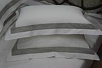 Льняная наволочка   50х70 + 5 см,  рамка