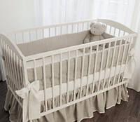 Льняное постельное белье в кроватку из серого льна 3 предмета.