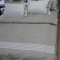 Льняное постельное белье  160x220 с большой простыней  из белого льна