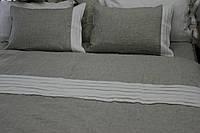 Пододеяльник льняной 200х220 , оршанский лен серый и белый.