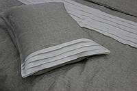 Льняна постільна білизна сіра 160x220, прикрашена оборками з білого льону, фото 1