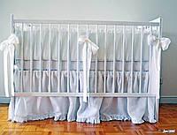 Детская льняная защита-бампер в кроватку