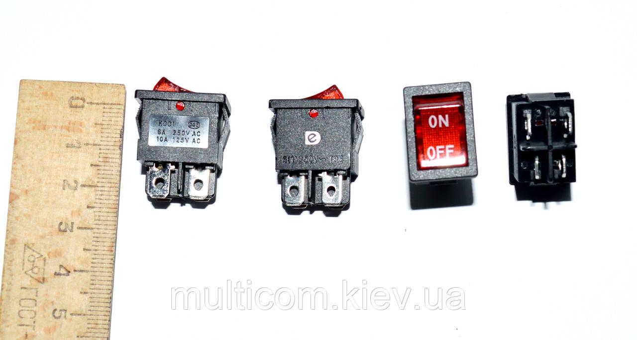 11-04-009. Переключатель с подсветкой MIRS-201A ON-OFF, 4pin, 6A, 220V