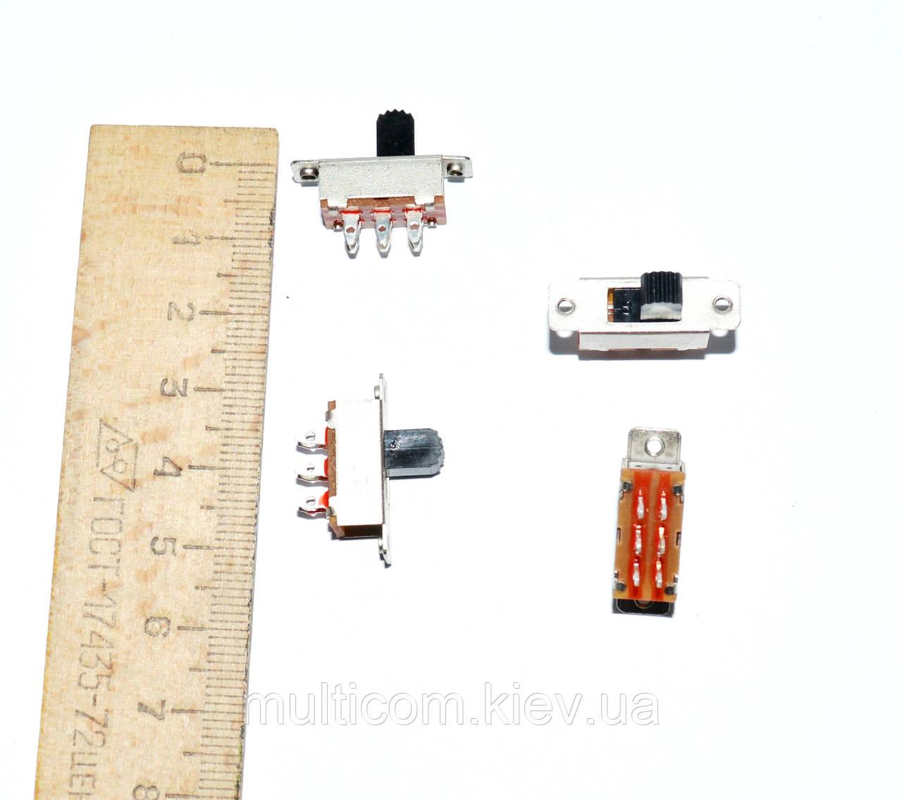 11-07-013. Переключатель движковый KBB40-2P2W ON-ON, 6pin, 0,5A 250VAC