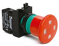 """Кнопка """"грибок"""" с окном аварийная c фиксацией и возвратом отжиманием (1НЗ) - пластик IP65"""