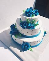 """Свадебный торт на заказ """"Голубая лагуна"""""""