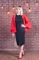 Яркий женский пиджак-пончо красного цвета