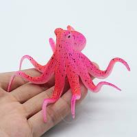 Осьминог люминесцентный Красный декор аквариума, фото 1