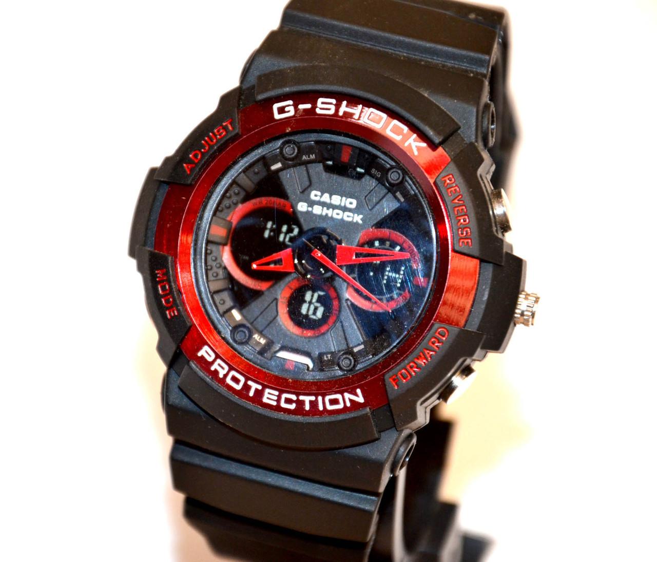 Часы наручные  Protection черные с красным