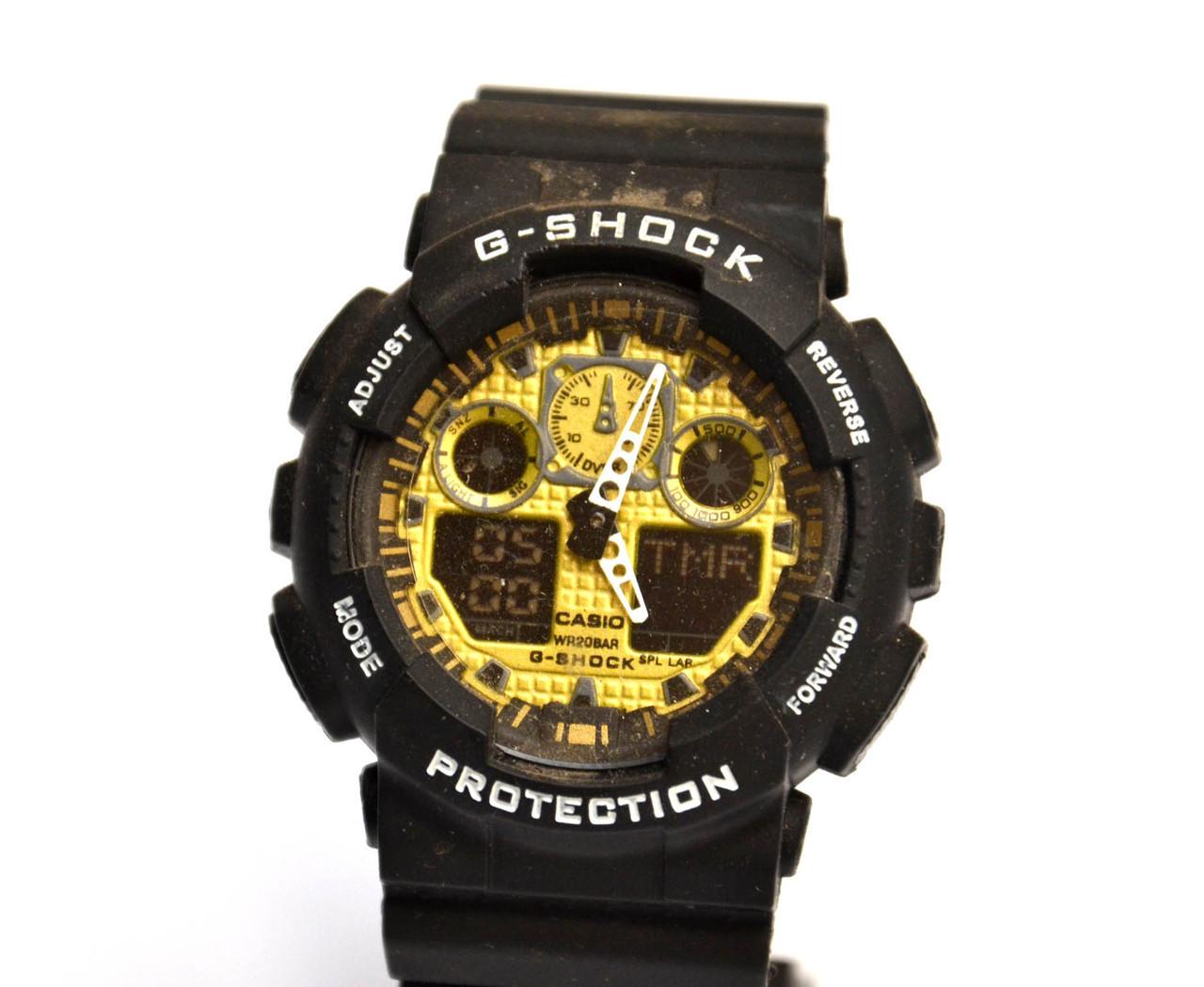 Наручные часы  GA-100 Черные с золотым
