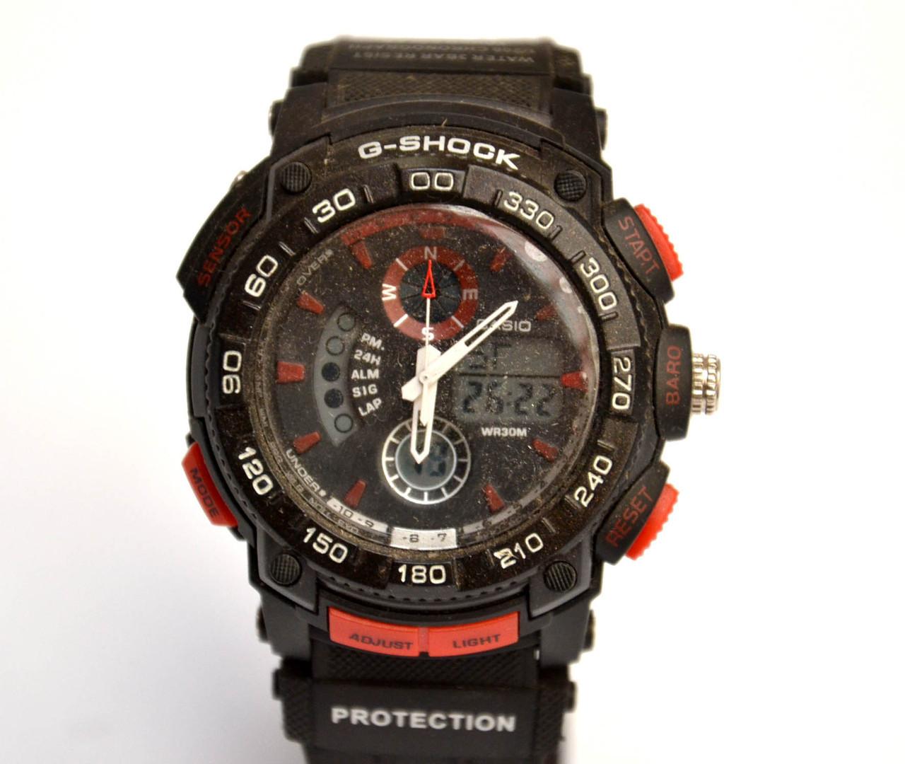 Наручные часы  Protection  черные с красным