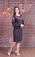 Эксклюзивное женское трикотажное платье с вышивкой