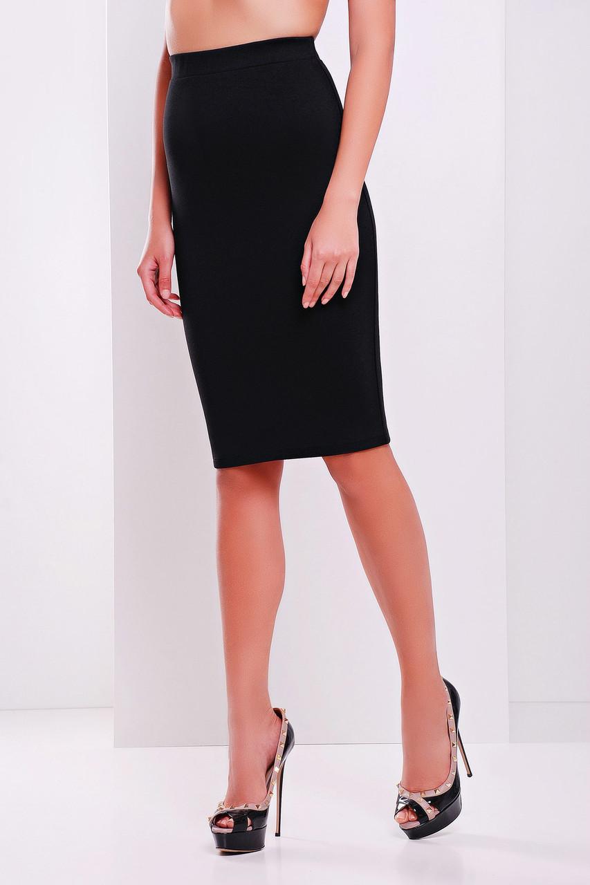 c30df8cfb7b Деловая трикотажная юбка миди прямого силуэта черная р.M