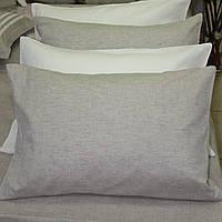 Льняная наволочка  40х60,  серый оршанский лен