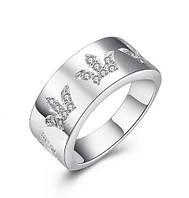 Кольцо широкое корона покрытие 925 серебро проба фианиты