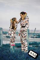 Детский комбинезон на девочку на утеплителе 200 со сьемным капюшоном камуфляжный принт 7-132/1 АМ