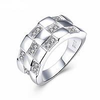 Кольцо клеточка покрытие 925 серебро проба фианиты