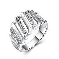Кольцо полоски покрытие 925 серебро проба фианиты