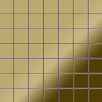 Мозаика из цельного металла зеркально полированный титан Gold золотого цвета толщиной 1,6 мм ALLOY Attica-Ti-GM