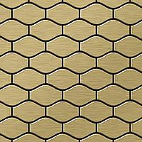 Мозаика из цельного металла шлифованный титан Gold золотого цвета толщиной 1,6 мм ALLOY Karma-Ti-GB | дизайнер Карим Рашид