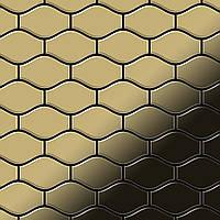 Мозаика из цельного металла зеркально полированный титан Gold золотого цвета толщиной 1,6 мм ALLOY Karma-Ti-GM | дизайнер Карим Рашид