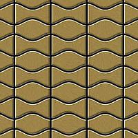Мозаика из цельного металла шлифованный титан Gold золотого цвета толщиной 1,6 мм ALLOY Kismet & Karma-Ti-GB | дизайнер Карим Рашид