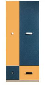 Гербор Твист шкаф   1950х800х515мм синий+желтый