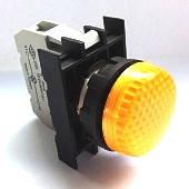 Арматура сигнальная 22мм с блок-контактом подсветки без лампы жёлтая