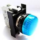 Арматура сигнальная 22мм с блок-контактом подсветки без лампы синяя