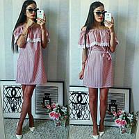 Красно-белое хлопковое полосатое летнее модное платье. Арт.-2301/2