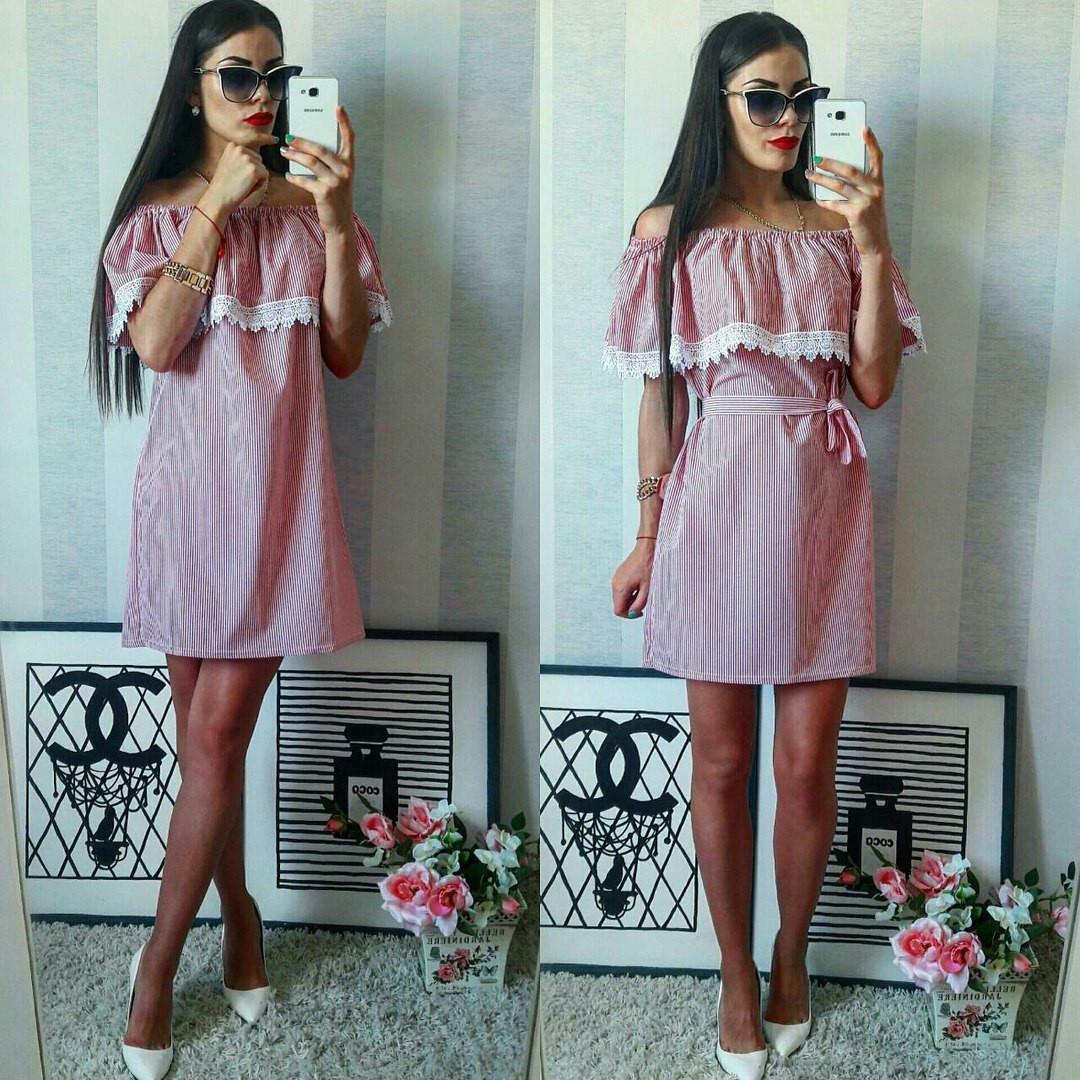 8eb6d280ee1 Красно-белое хлопковое полосатое летнее модное платье. Арт.-2301 2 ...