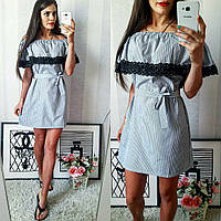 Белое хлопковое летнее модное платье в голубую полоску. Арт-2301/2