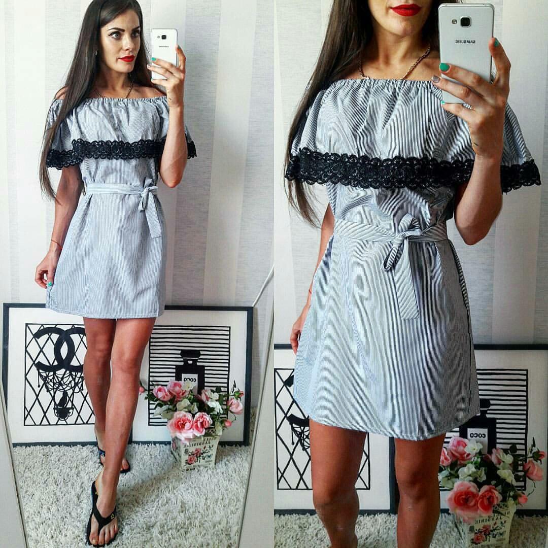 a0859cd65e47 Белое хлопковое летнее модное платье в голубую полоску. Арт-2301 2 -  Интернет