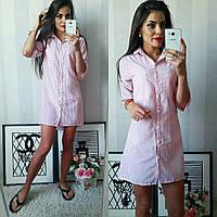 Полосатое летнее модное льняное платье-рубашка в красную полоску. Арт-2302/2