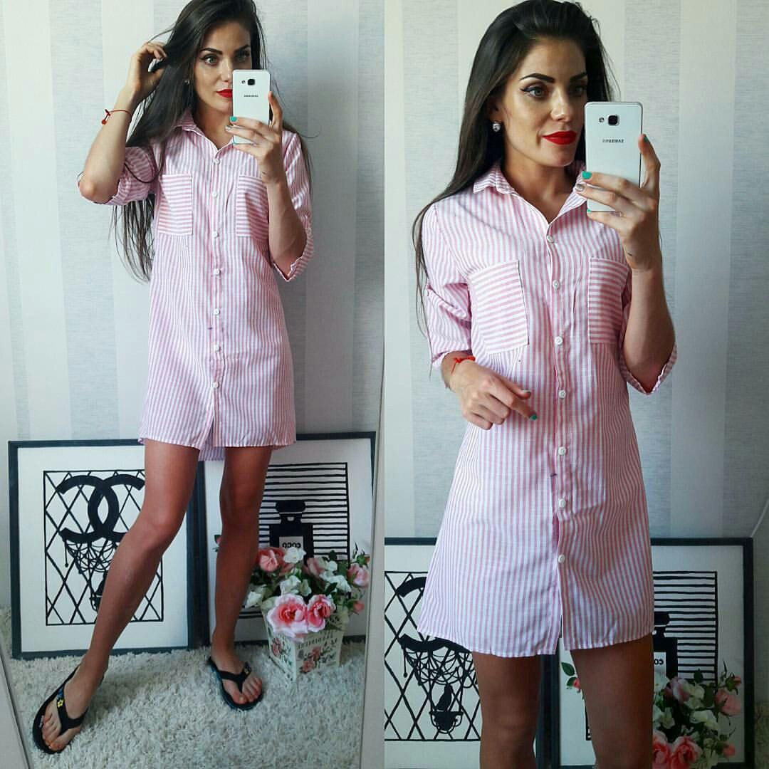 2e907cb57cd Полосатое летнее модное льняное платье-рубашка в красную полоску. Арт-2302 2