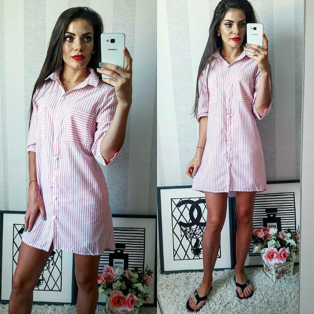 14d94c34d47 Полосатое летнее модное льняное платье-рубашка в красную полоску. Арт-2302 2