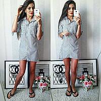 Полосатое летнее модное льняное платье-рубашка в серую полоску. Арт-2302/2