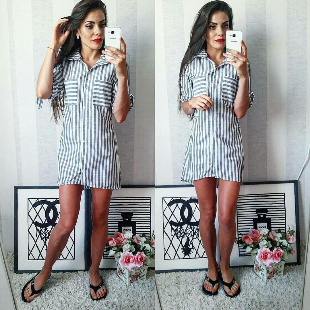 c549dd8bc58 Полосатое летнее модное льняное платье-рубашка в серую полоску. Арт-2302 2