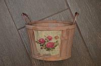 Деревянный декоративный таз, кора, цвет светло-коричневый, высота 10,5 см, диаметр 12,5/16,5 см