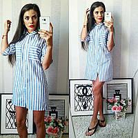 Полосатое летнее модное льняное платье-рубашка в голубую полоску. Арт-2302/2