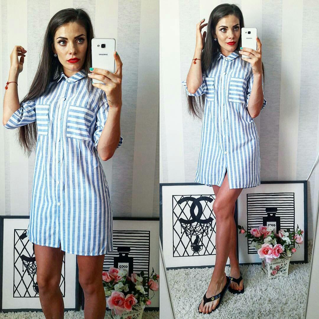 f56b4cda97f1 Полосатое летнее модное льняное платье-рубашка в голубую полоску. Арт-2302 2
