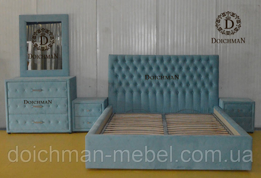 Спальный гарнитур из кожи, ткани, комплект мягкой мебели в спальню