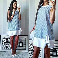 Полосатое льняное платье-туника с белым воланом внизу. Арт-2303/2