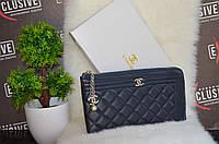 """Матовый кошелек - клатч """"Chanel"""" темно-синий."""