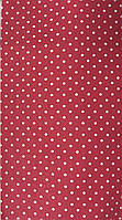 Ткань с мелкими белыми горошками 2 мм на красном фоне, бязь, хлопок