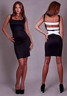 Черное облегающее трикотажное платье с белыми полосами на открытой спине . Арт-2306/2