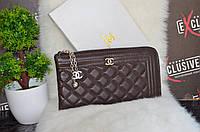 """Матовый кошелек - клатч """"Chanel"""" коричневый."""