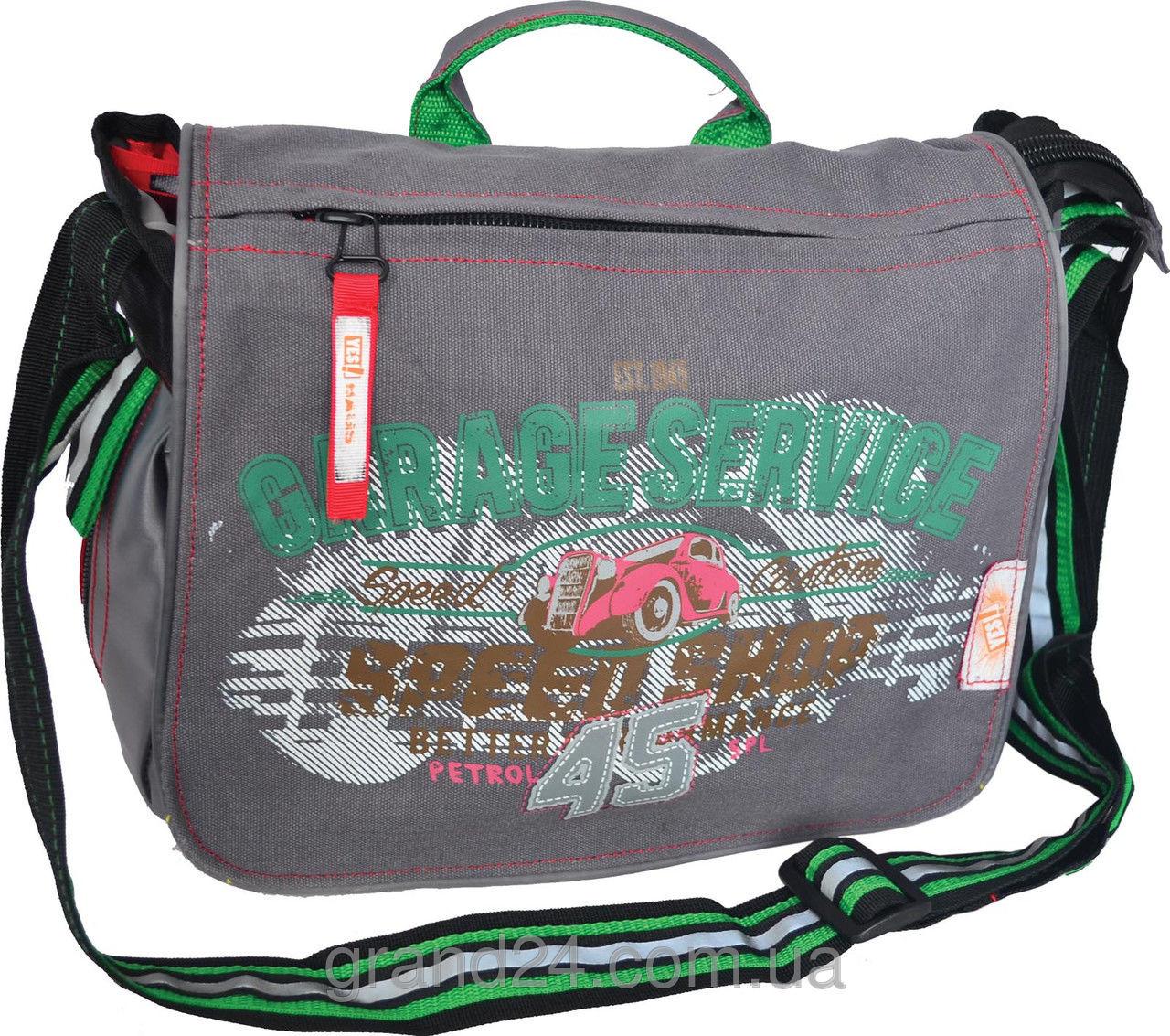 Молодежная сумка через плечо GarageService серая