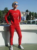 Спортивный костюм женский без молнии брюки манжет красный Philipp Plein